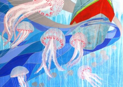 Luzzu and jelly fishes (acrylic on canvas - 100x100cm - 2015)