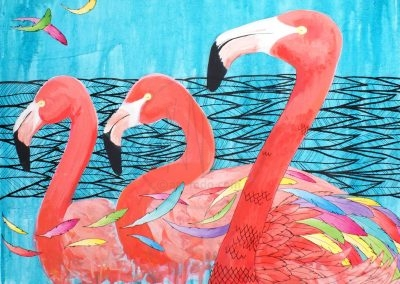 Pink flamingos (acrylic on canvas - 60x60cm - 2016)